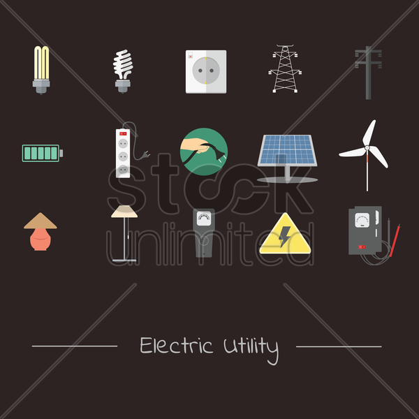 electrical utility appliances and transmission icon set vector graphic