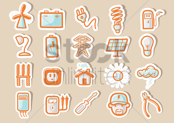 electricity icons vector graphic