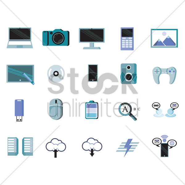 electronic and communication devices vector graphic