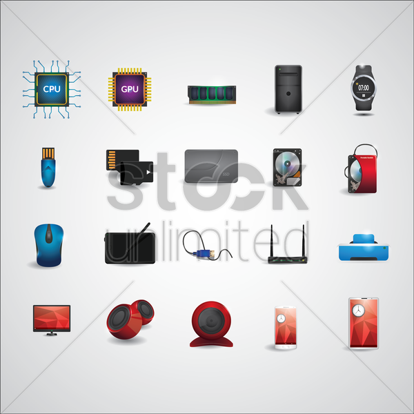 electronic device icon set vector graphic