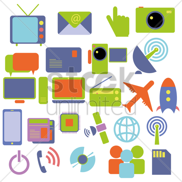 electronic items vector graphic