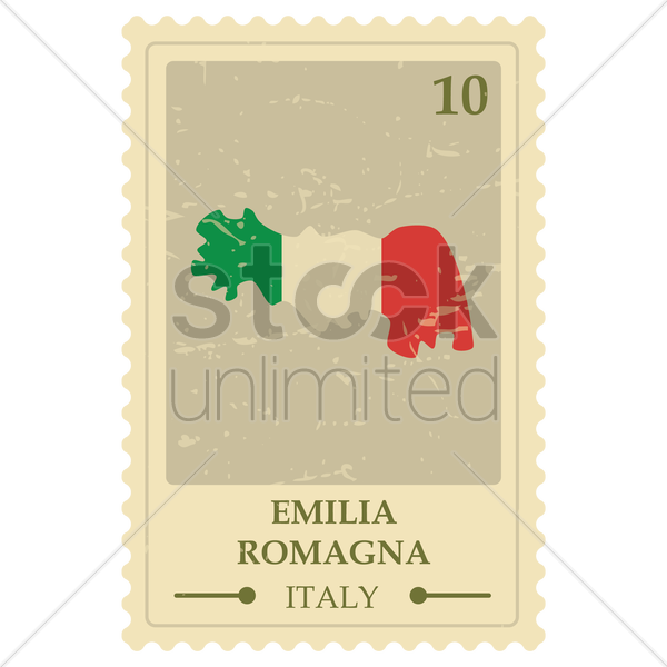 emilia romagna map postage stamp vector graphic