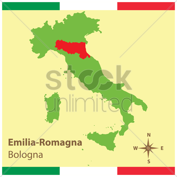 emilia-romagna on italy map vector graphic