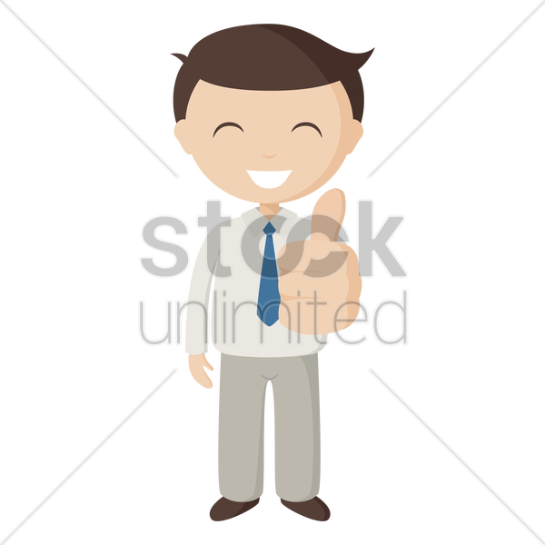 employee showing thumbs up vector graphic