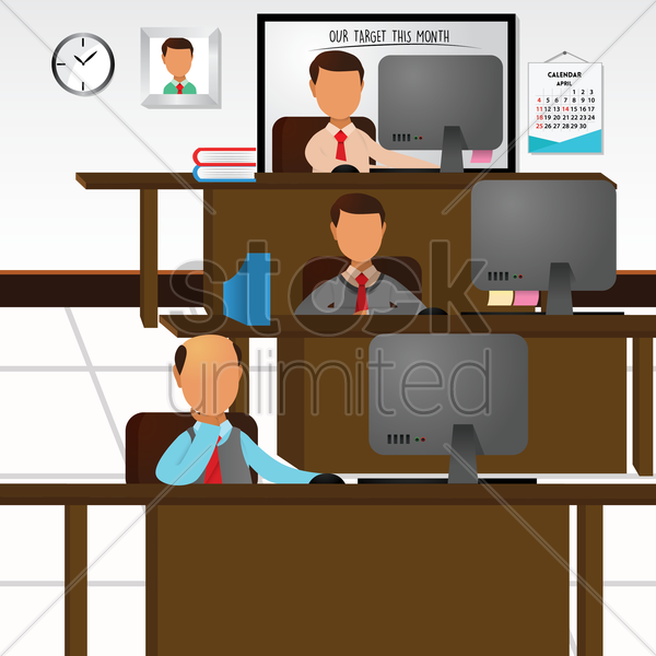 employees working in office vector graphic