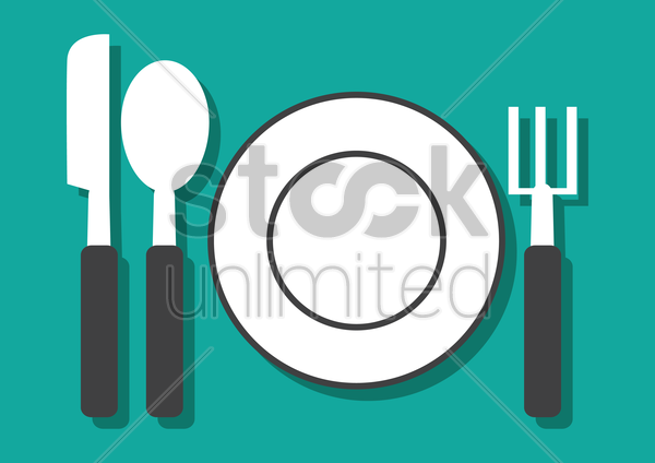 Free empty plate with knife spoon and fork vector graphic