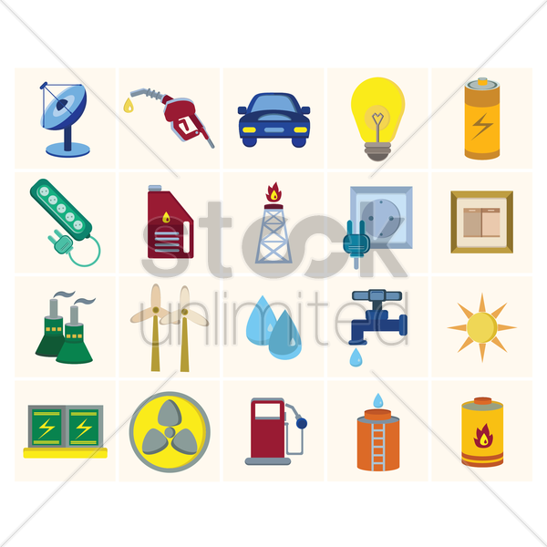 energy power icon set vector graphic