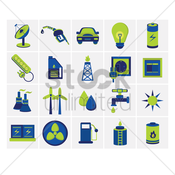 energy power sources icon set vector graphic