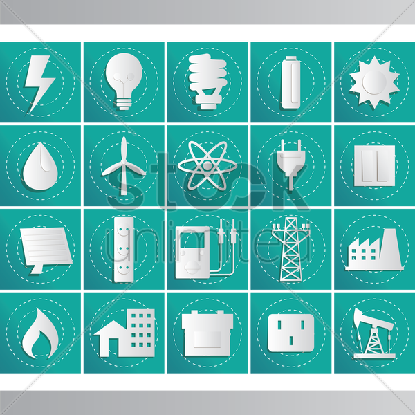 energy related icon set vector graphic