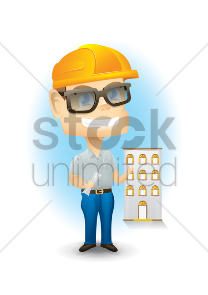 engineer and building vector graphic