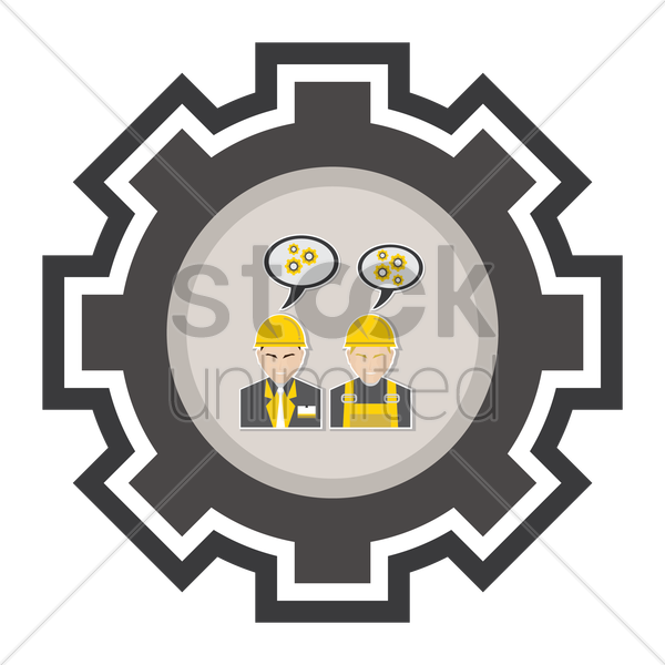 engineer and construction worker vector graphic