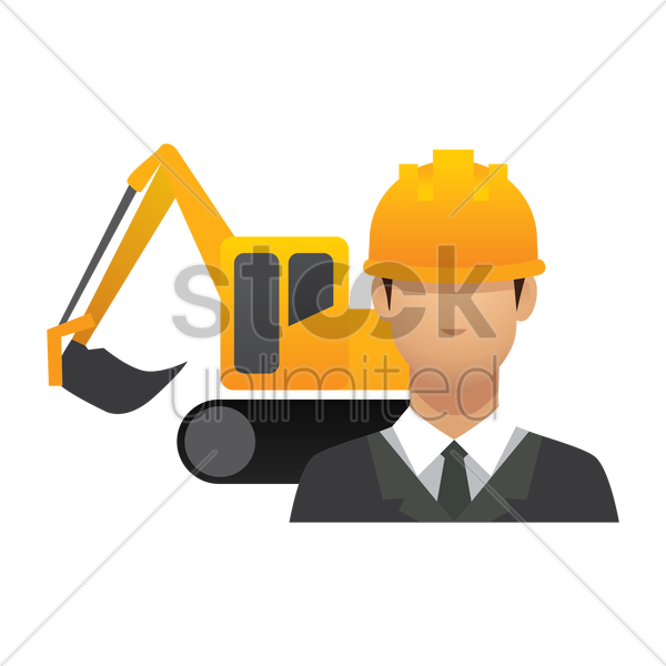 engineer and crawler digger vector graphic