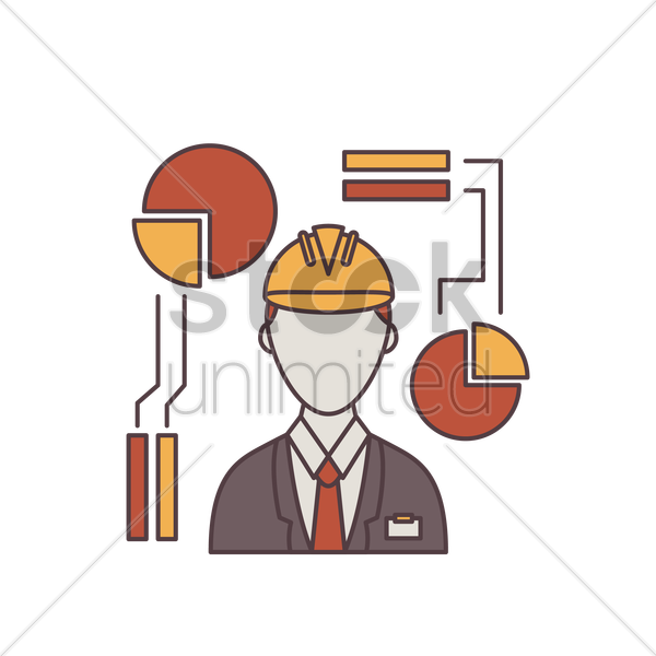 engineer and pie chart vector graphic