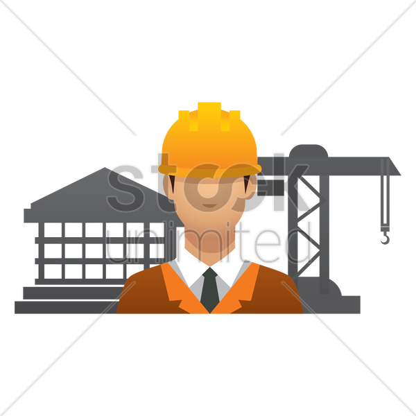 engineer at construction site vector graphic