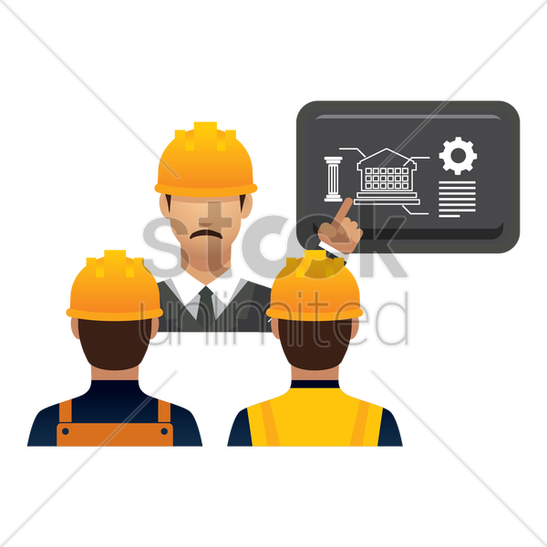 engineer giving presentation vector graphic