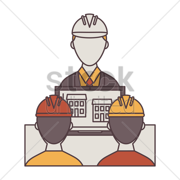 engineer presenting plan to construction workers vector graphic