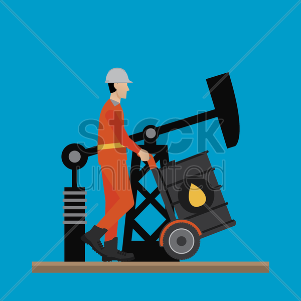 engineer pushing an oil barrel vector graphic
