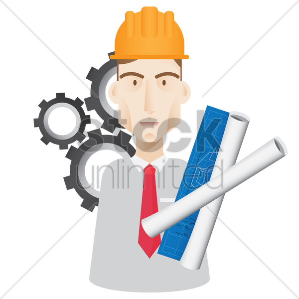 engineer with blueprint vector graphic