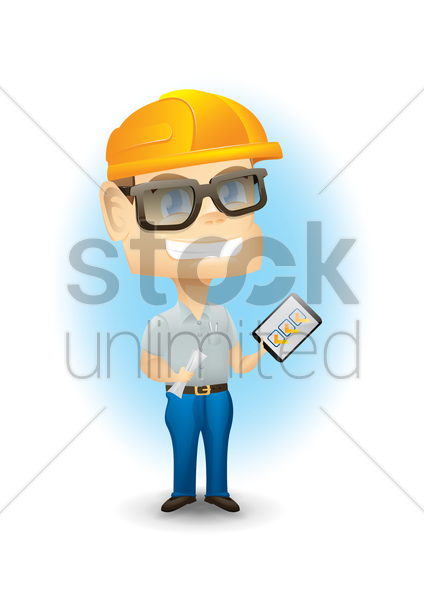 engineer with  checklist vector graphic