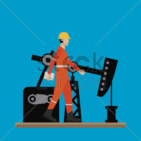 engineer with oil refinery pump vector graphic