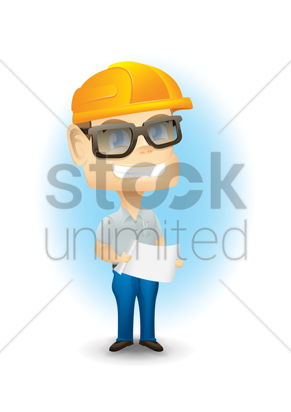 engineer with paper vector graphic