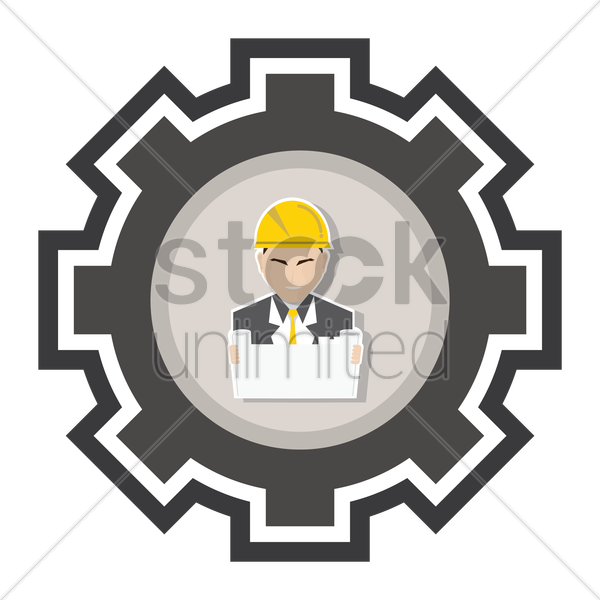 engineer with plan document vector graphic