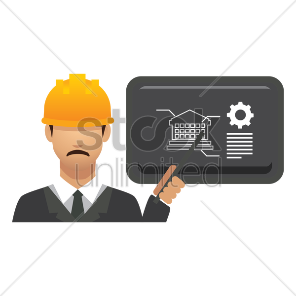 engineer with presentation vector graphic