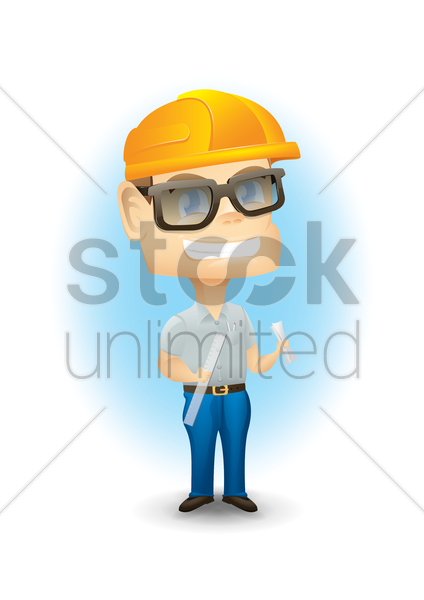 engineer with ruler and paper vector graphic