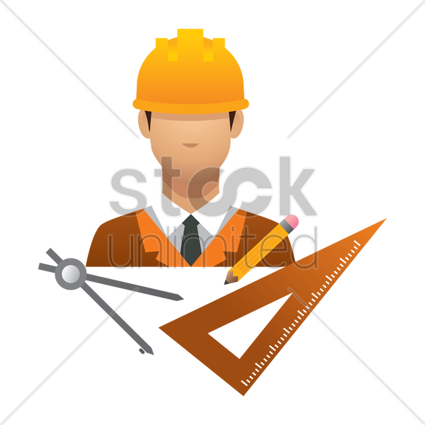 engineer with stationery tools vector graphic