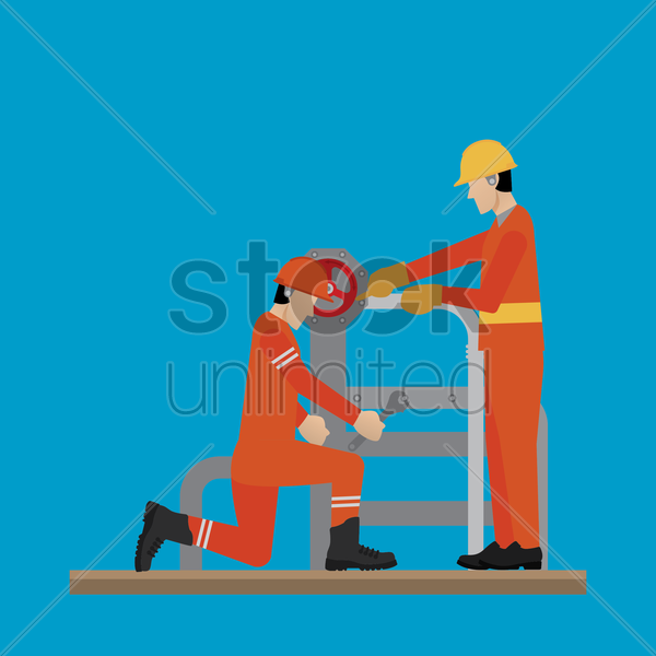 engineers fixing the refinery pipes vector graphic