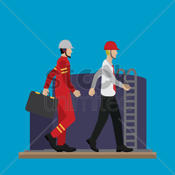 engineers with oil well vector graphic