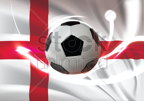 england flag with soccer ball vector graphic
