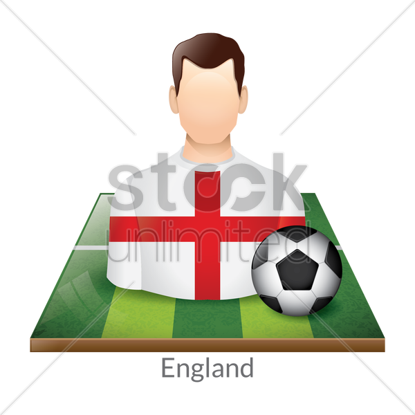england player with soccer ball on field vector graphic