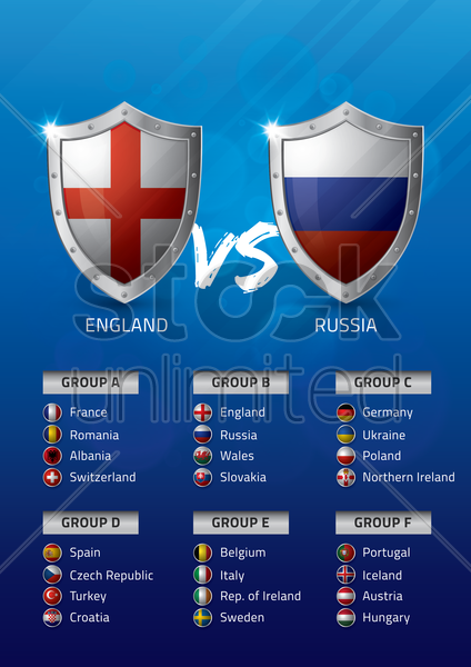 england vs russia vector graphic
