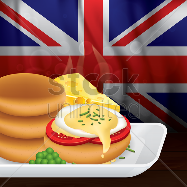 english muffin breakfast vector graphic
