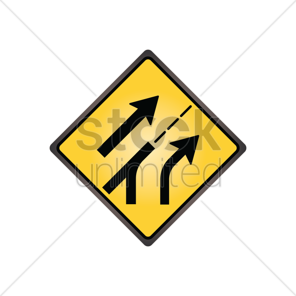 entering added lane sign vector graphic