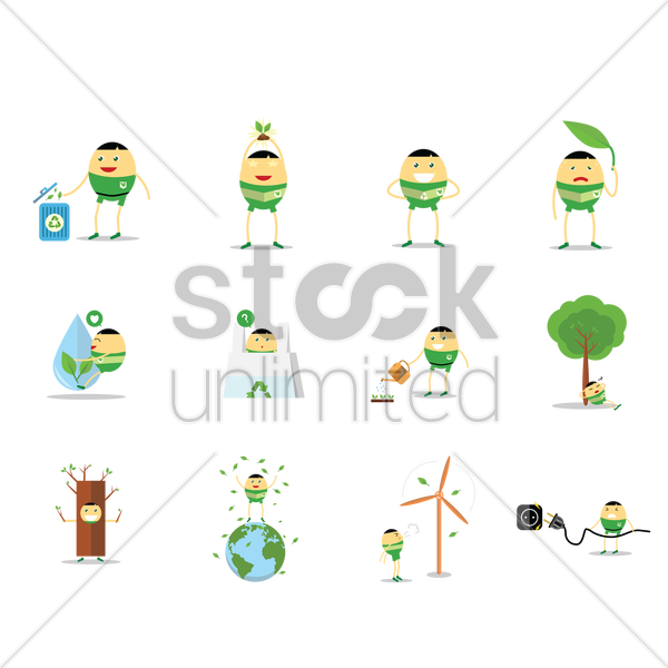 environment conservation and recycling concept vector graphic