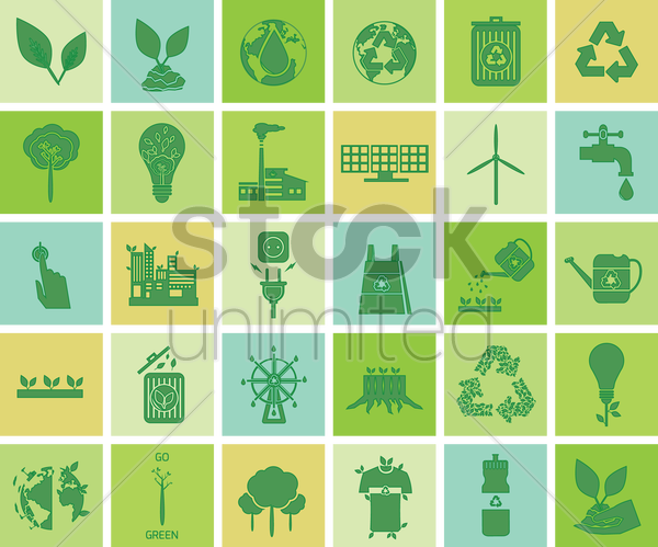 environment conservation icons vector graphic