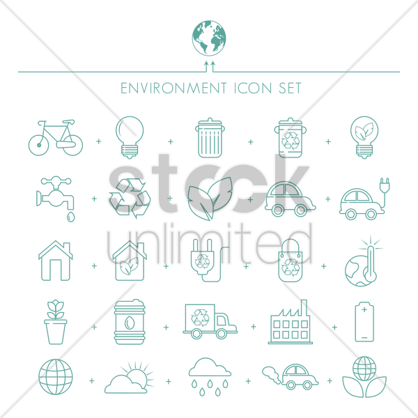 environment icons set vector graphic