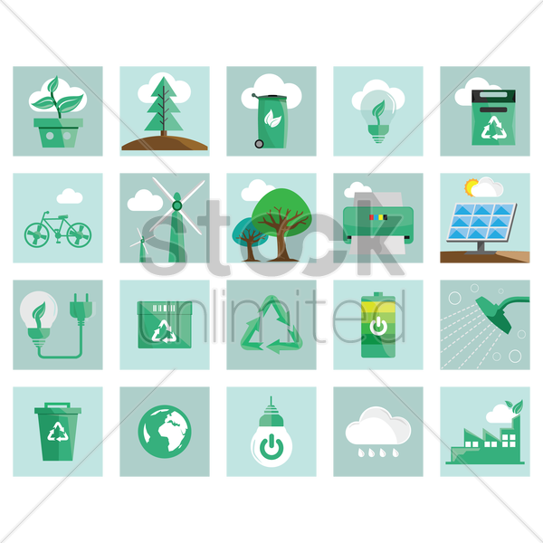 environment icons vector graphic