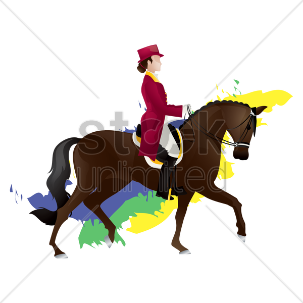 equestrian dressage rider vector graphic