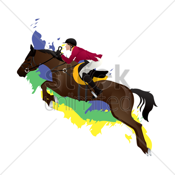 equestrian jumping rider vector graphic