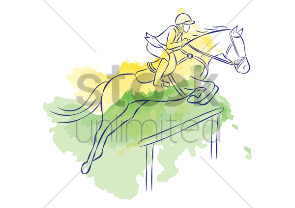 equestrian jumping vector graphic