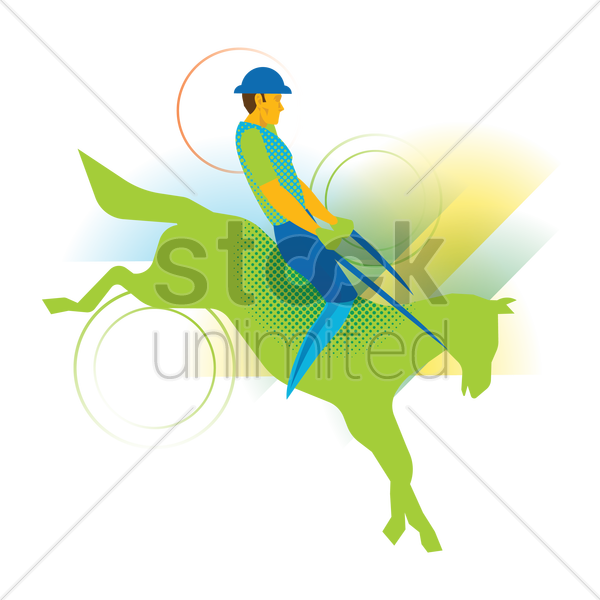equestrian on his horse vector graphic