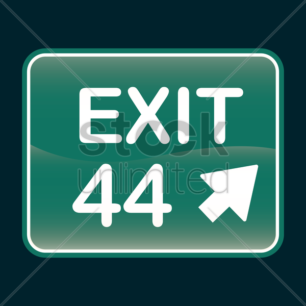 exit 44 sign vector graphic