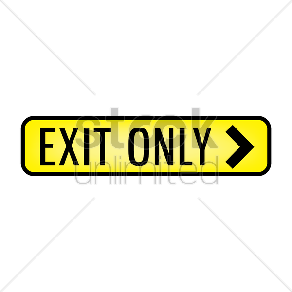 exit only signboard vector graphic