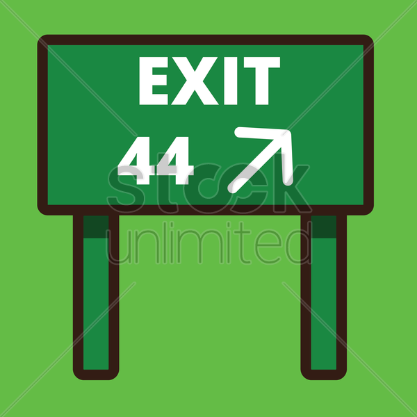 exit road sign board vector graphic