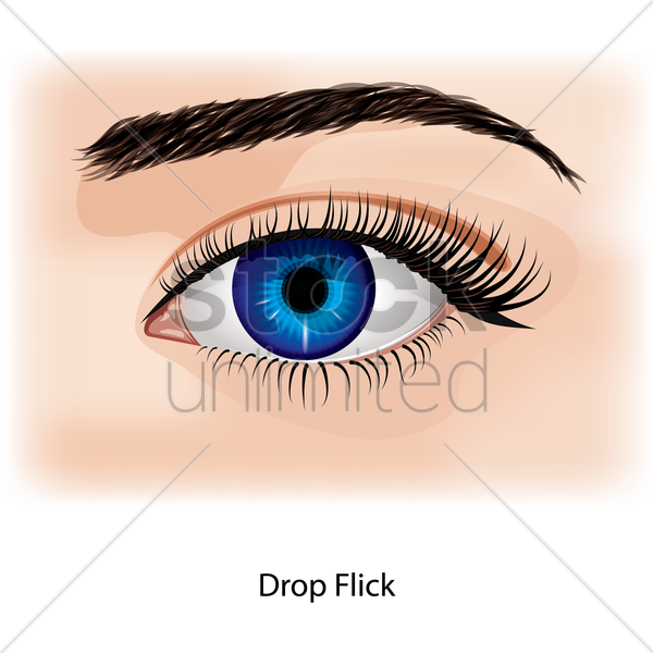 eye with drop flick vector graphic