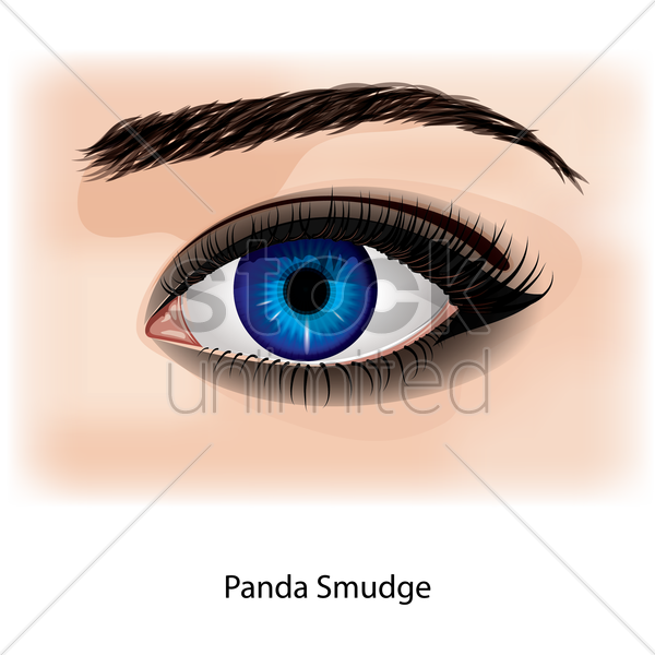 eye with panda smudge vector graphic