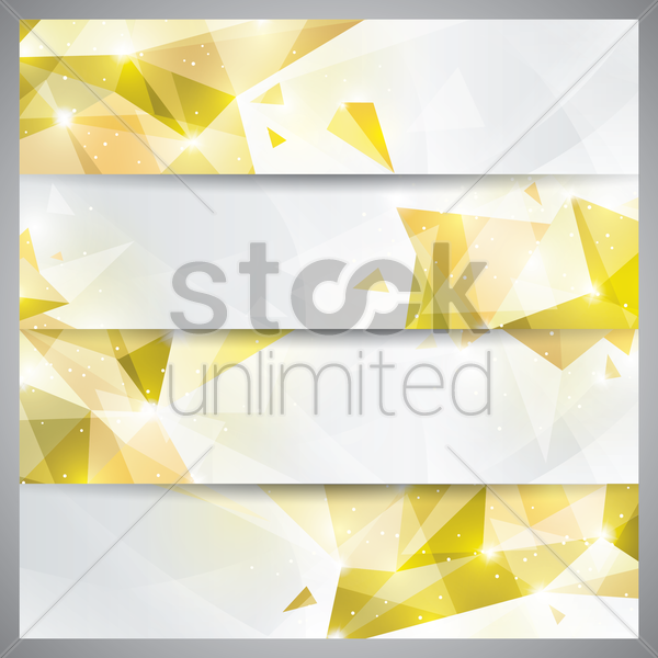 faceted banner set vector graphic